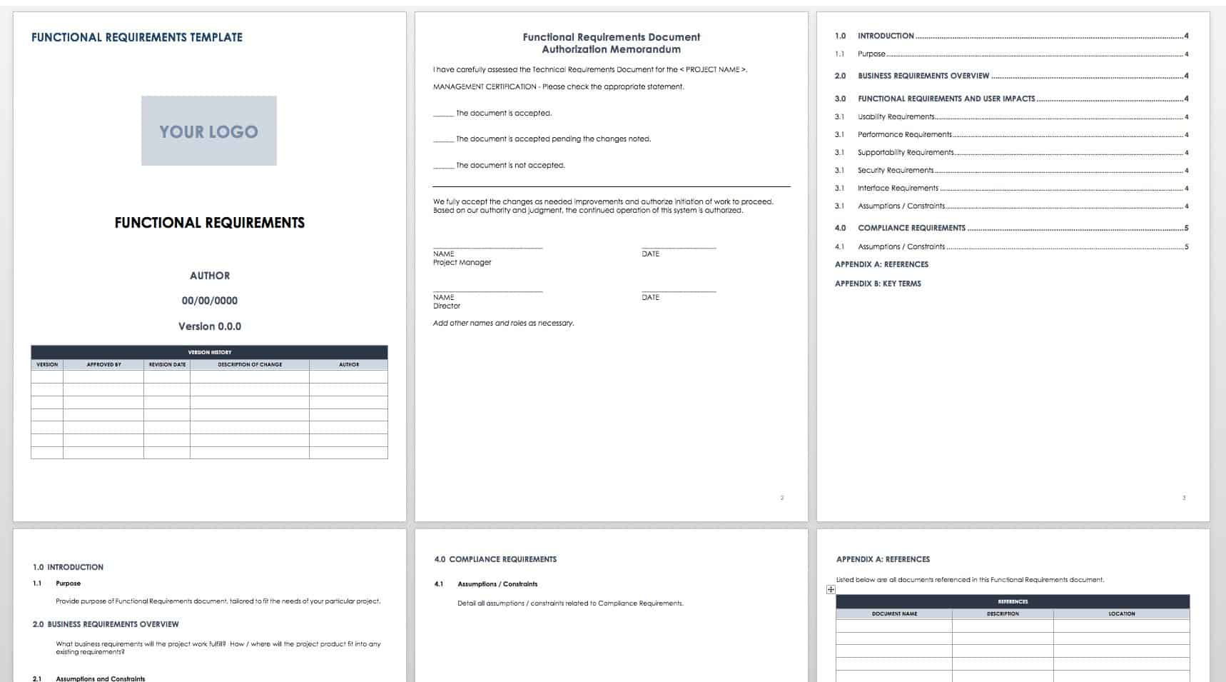 hight resolution of functional specifications templates for software