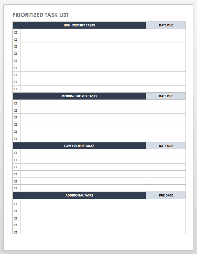 Free Task and Checklist Templates | Smartsheet