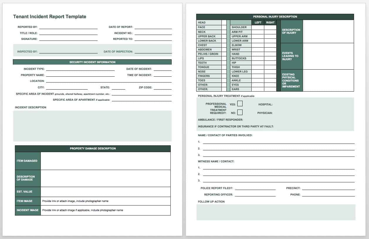 Hospital Incident Report Example