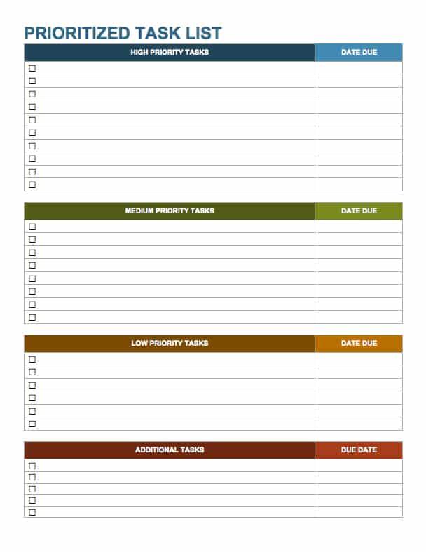 priority task list template excel