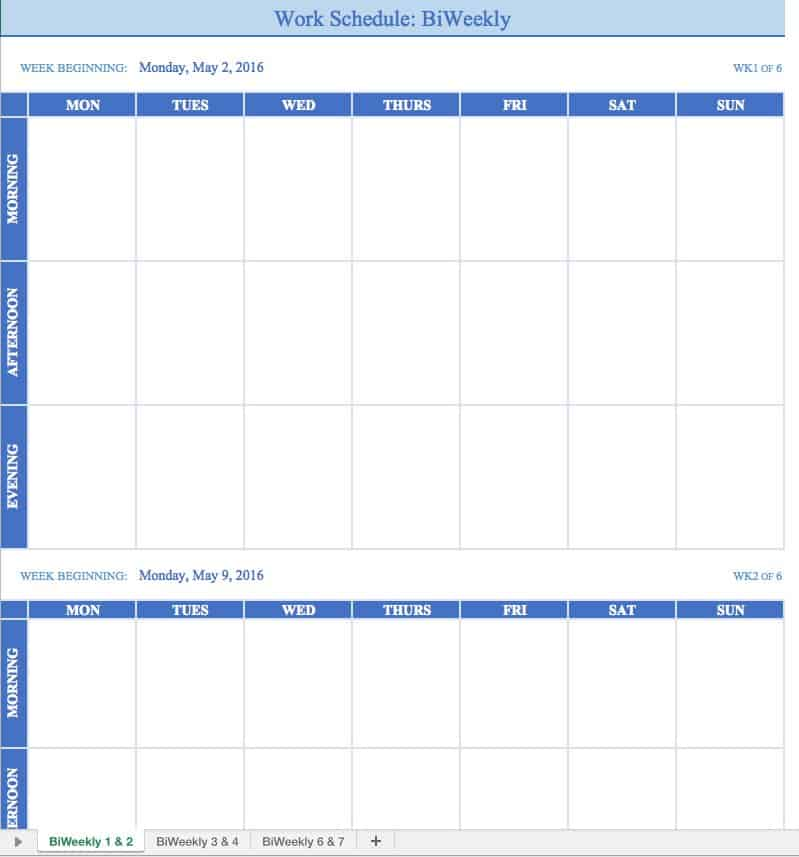 weekly work schedule template excel - April.onthemarch.co