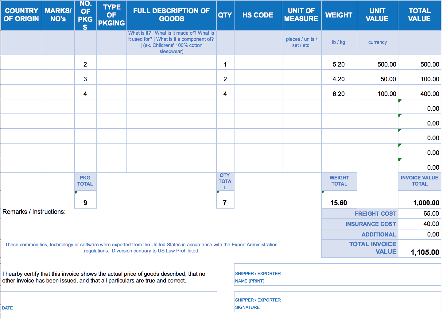 free invoice excel template