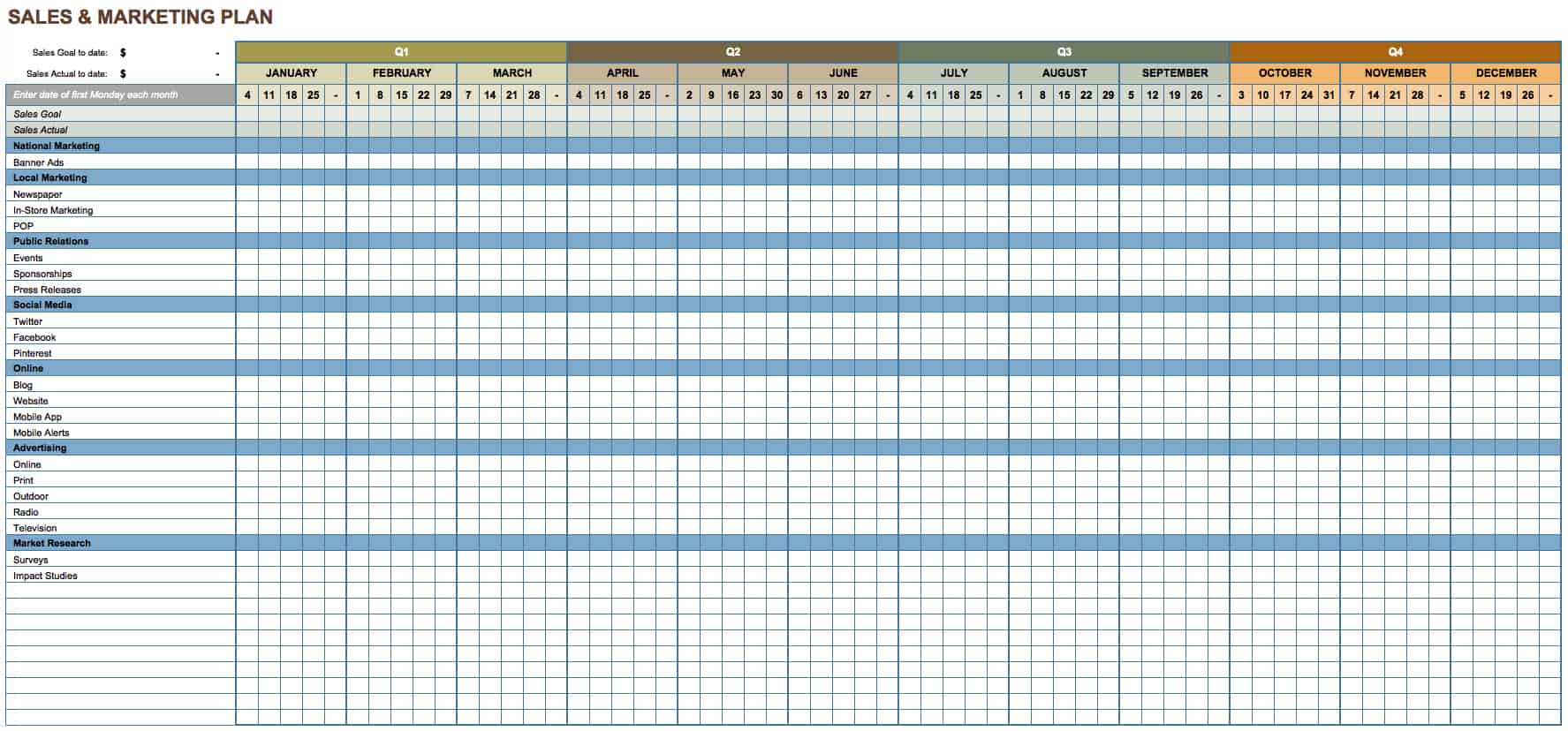 Free Marketing Plan Templates For Excel