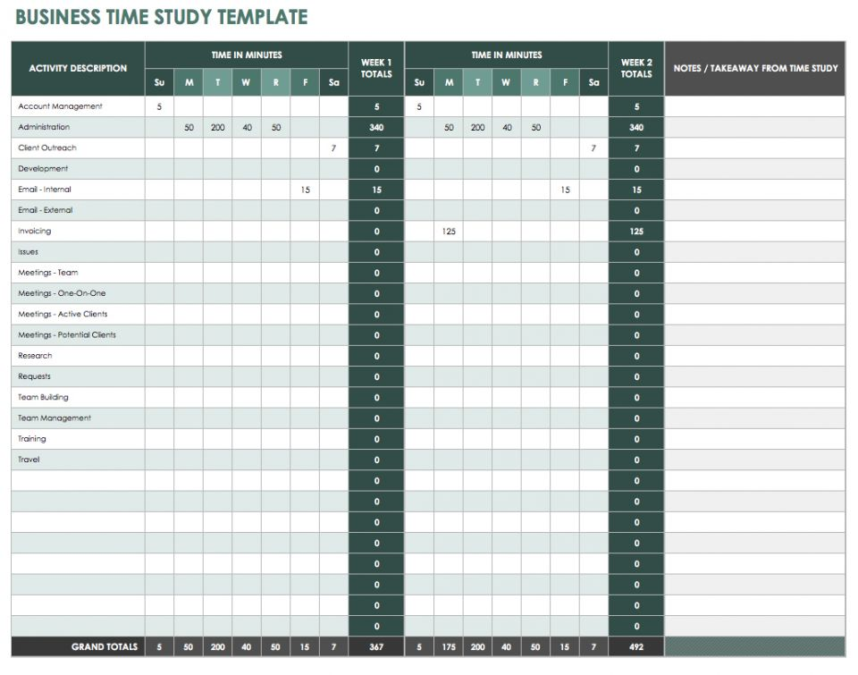 time and motion study template excel download