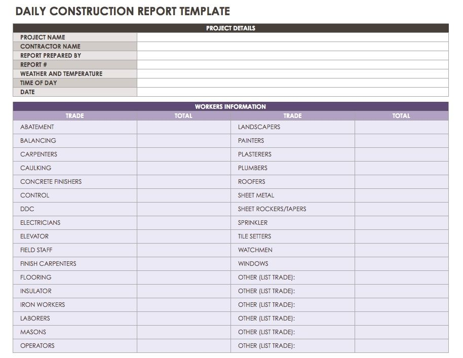 An all purpose daily reporting template that allows you to record the workers on site and their trades visitors tests inspections performed also construction reports templates or software smartsheet rh