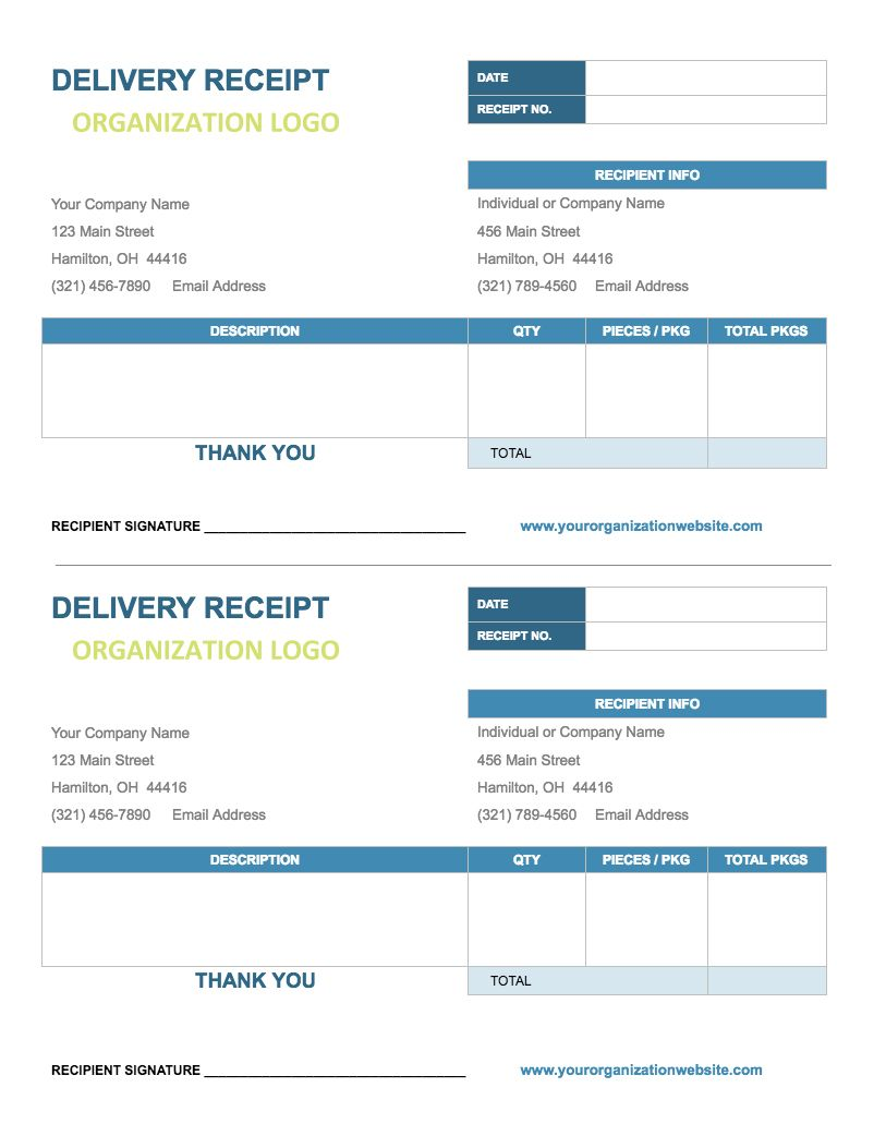 Delivery Receipt Template - Google Docs