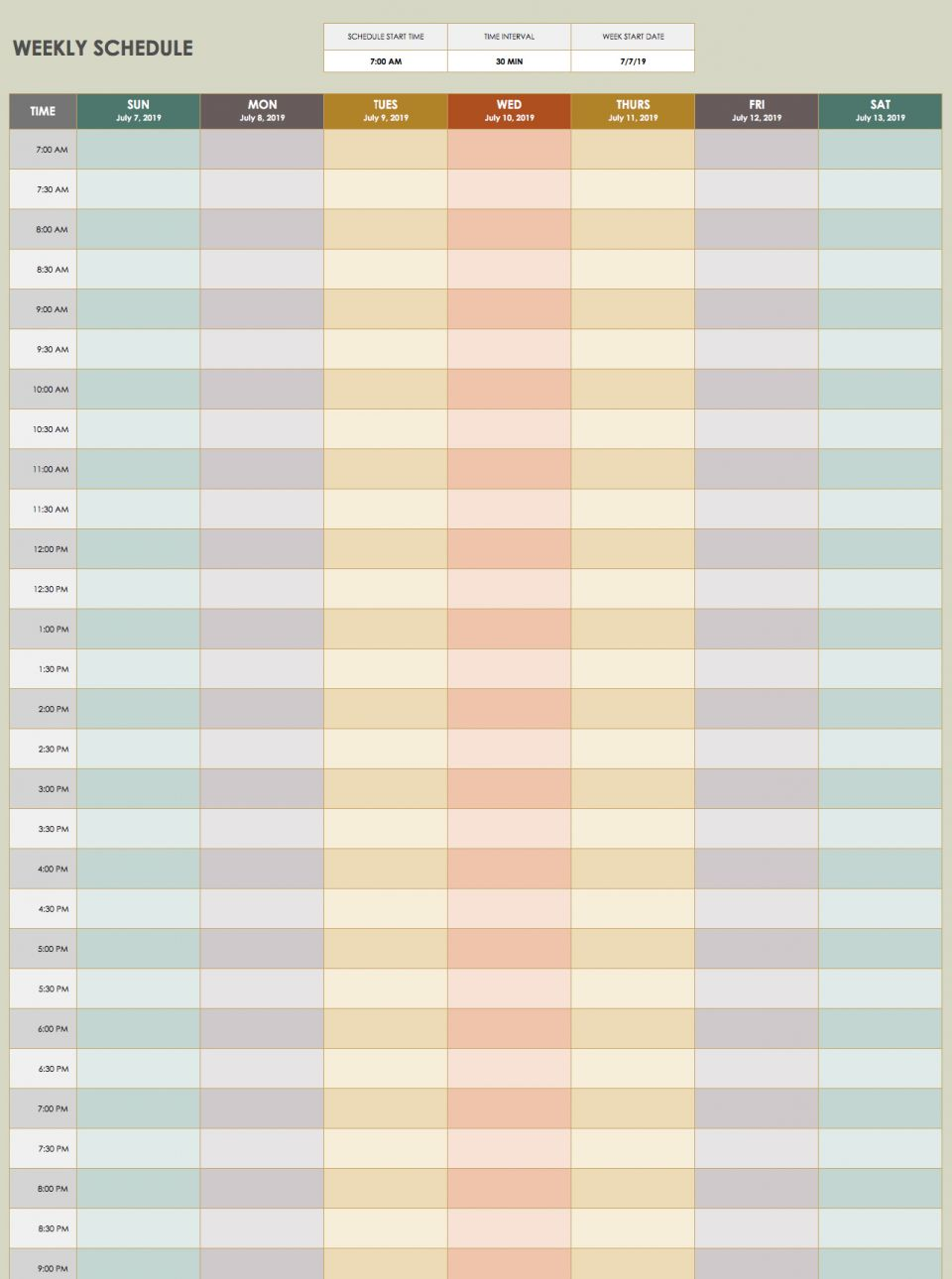 On This Time Management Schedule Template, You Can Set The Time Interval  And Start Date To Suit Your Needs. Time Intervals Range From 10 To 120  Minutes,