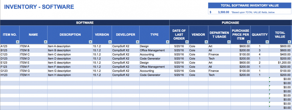 how to maintain store inventory in excel