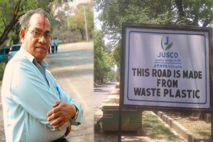 Rajagopalan Vasudevan, the plastic man of India developed the method of constructing plastic roads