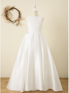 Ball-Gown/Princess Sweep Train Flower Girl Dress - Satin/Tulle/Lace Sleeveless Scoop Neck With Sash (010220968) - DressFirst