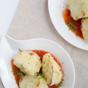 Cauliflower tortitas are cauliflower tempura bites in a spicy chipotle-tomato sauce.