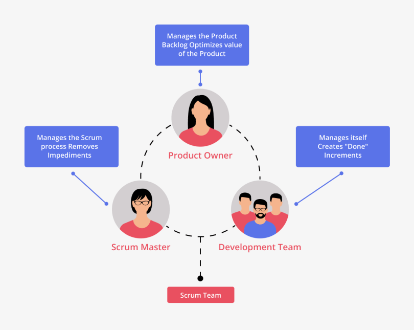 Three essential roles in a Scrum Team