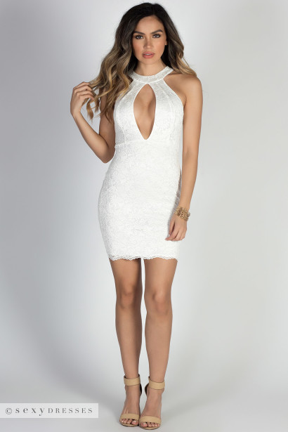 Baby Doll Ivory Plunging Cut Out High Neck Halter Lace