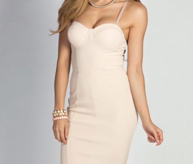 Lourdes Nude Sexy Structured Bustier Sheath Cocktail Dress
