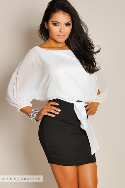 Sheer Oversized White Top with Black Skirt Formal Dress