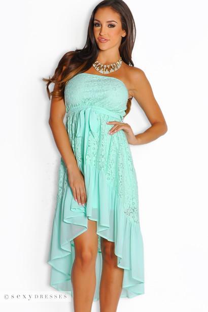 Mint Green Lace High Low Maxi Dress