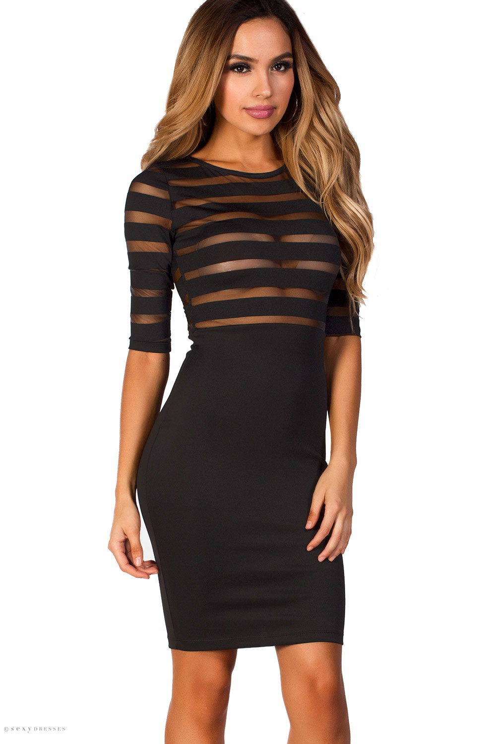 Rianne Black Bodycon Striped Sheer Top Dress with Sleeves