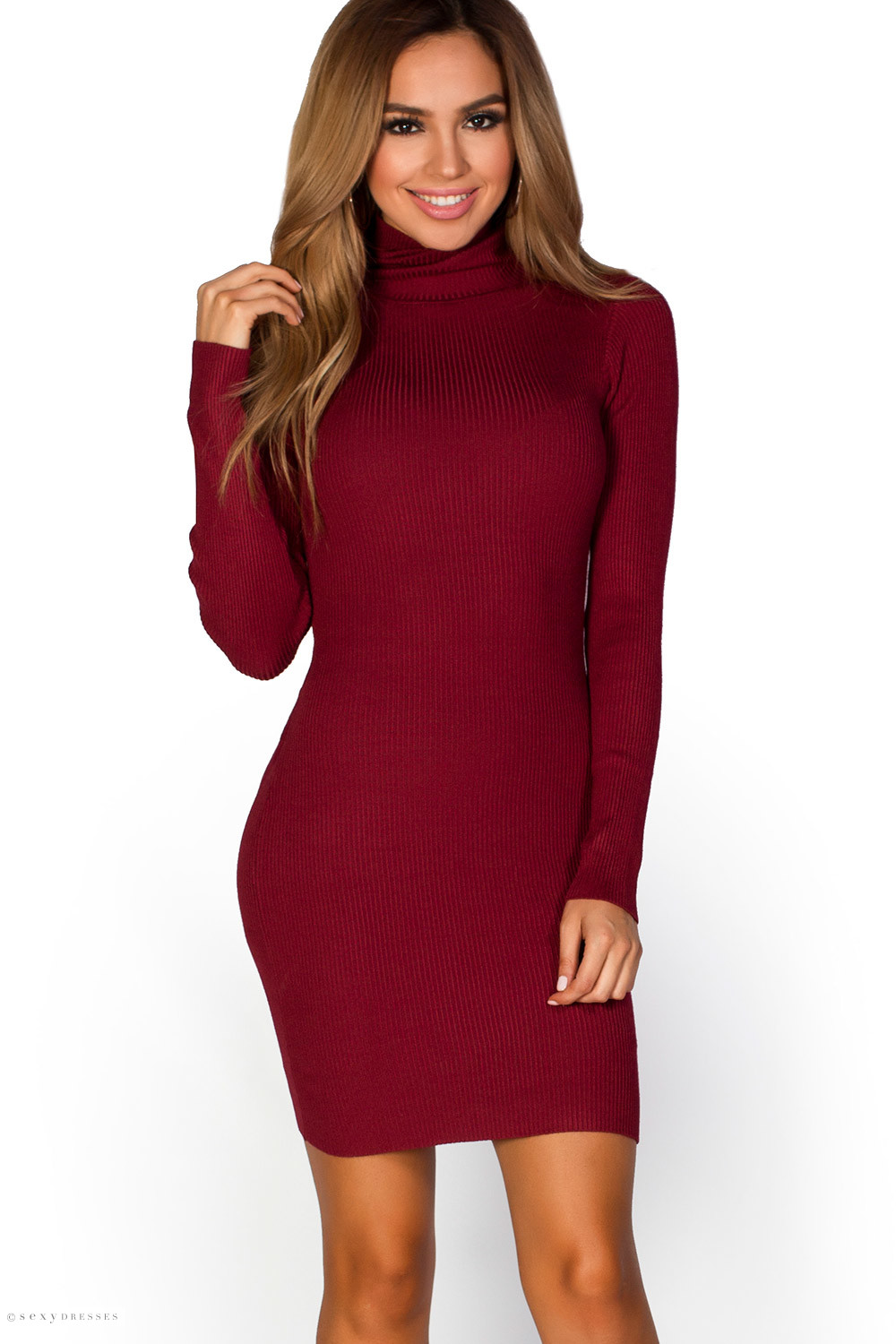 Liv Burgundy Red Ribbed Knit Turtle Neck Long Sleeve Bodycon Dress