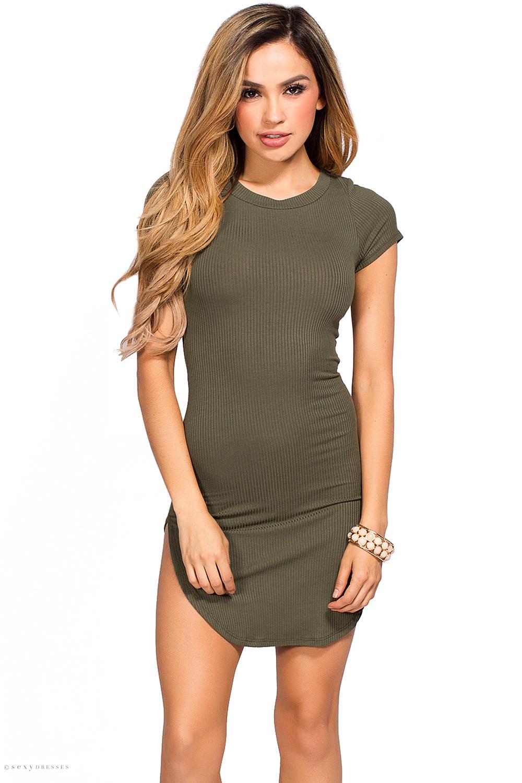 Ciara Olive Ribbed Jersey Short Sleeve Bodycon Casual