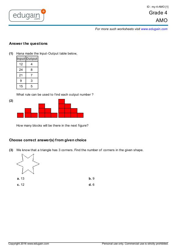 Grade 4 AMO: Printable Worksheets, Online Practice, Online