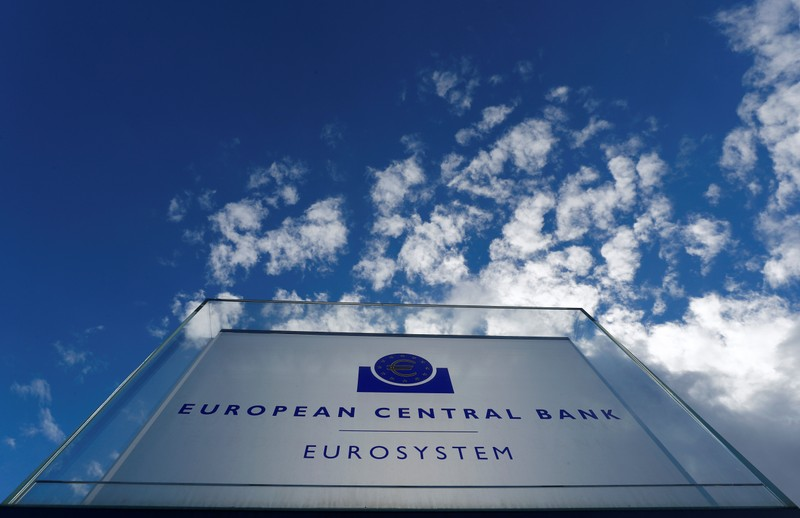 Sign of the European central Bank (ECB) is seen ahead of the news conference on the outcome of the Governing Council meeting, outside the ECB headquarters in Frankfurt