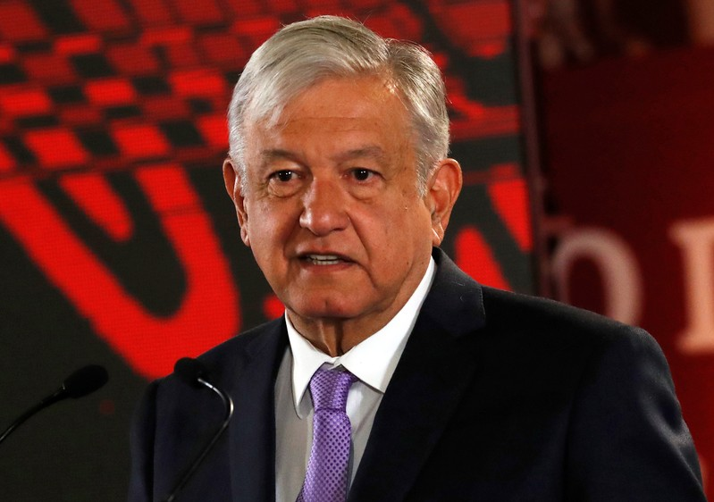 Mexico's President Andres Manuel Lopez Obrador speaks to the media during a news conference to announce a plan to strengthen finances of state oil firm Pemex, at the National Palace in Mexico City