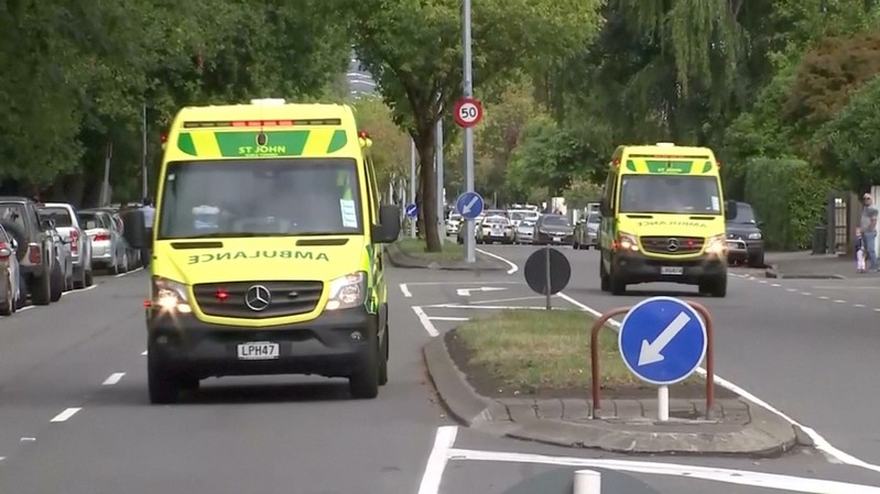 Video grab of ambulances driving along a street after reports that several shots had been fired at a mosque, in central Christchurch