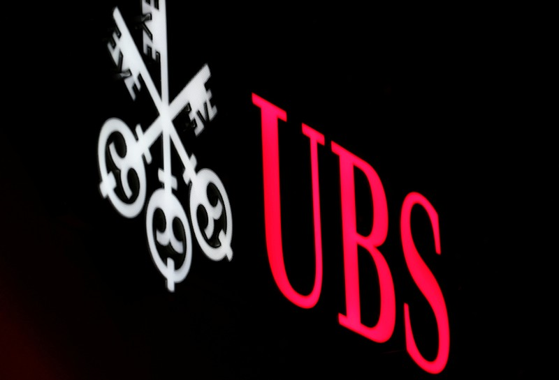 FILE PHOTO: The logo of Swiss bank UBS is seen in St. Moritz