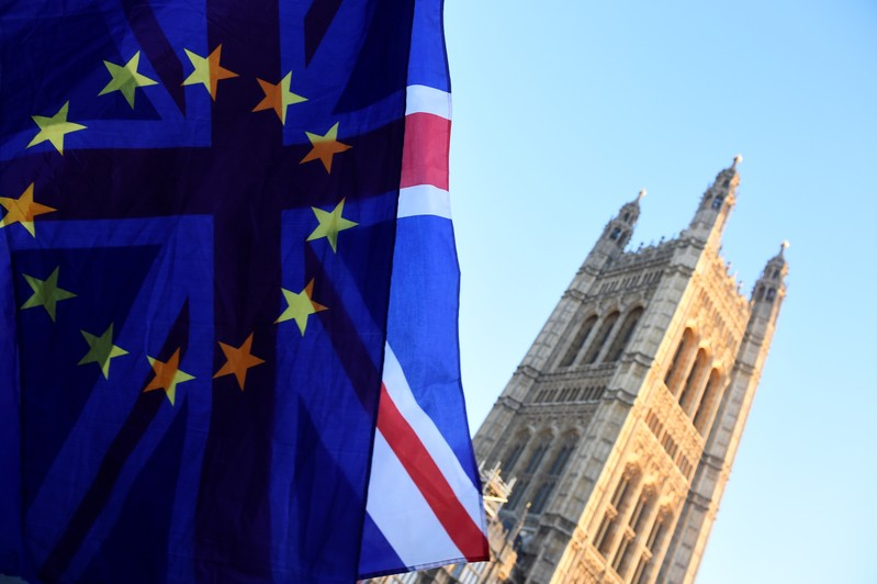 British and EU flags flutter outside the Houses of Parliament in London