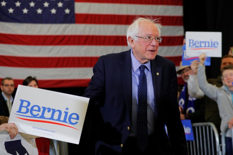 Democratic 2020 U.S. presidential candidate Sanders takes the stage in Concord