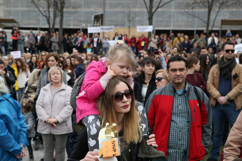 Protest against domestic violence in Zagreb