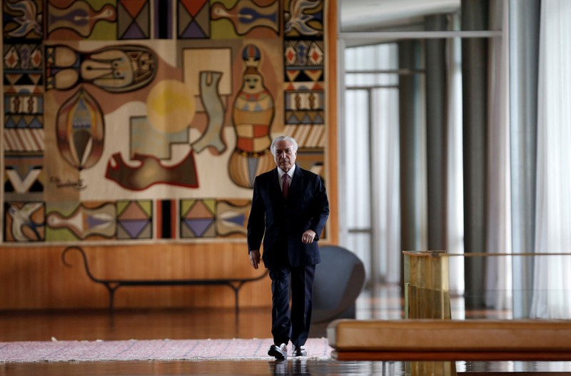 FILE PHOTO: Brazil's President Michel Temer arrives for a breakfast with foreign media at Alvorada Palace in Brasilia