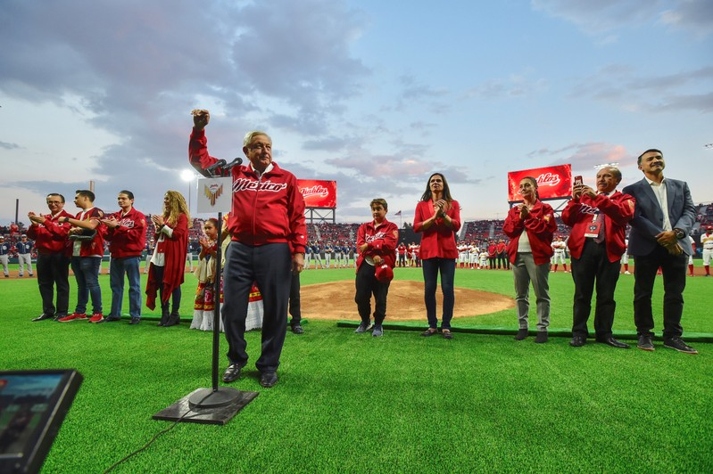 Mexico's President Andres Manuel Lopez Obrador during the opening celebrations of the Alfredo Harp Helu Stadium in Mexico City