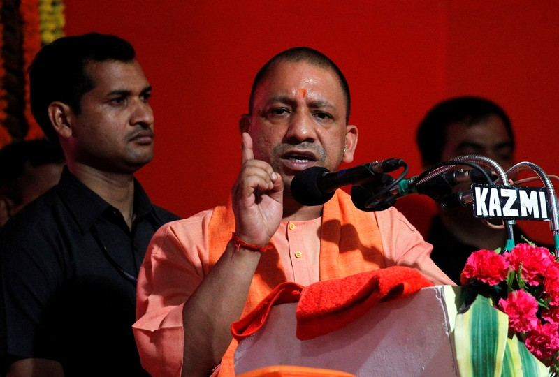 Yogi Adityanath, Chief Minister of India's most populous state of Uttar Pradesh, addresses the audience after inaugurating power projects in Allahabad