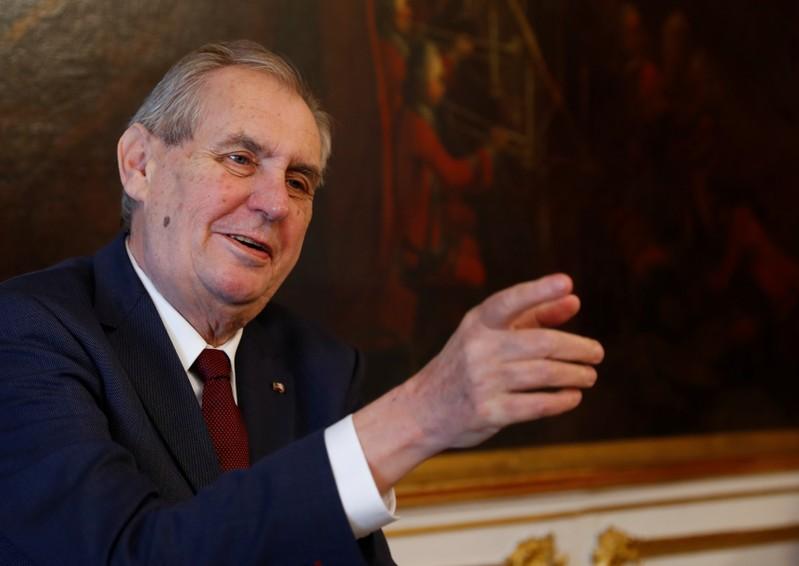 Czech President Zeman gestures in Vienna