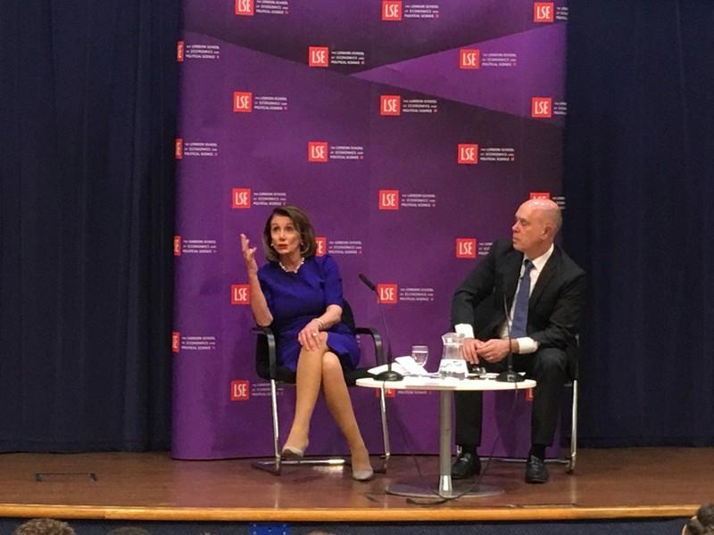 U.S. Speaker of the House of the Representative Nancy Pelosi speaks at the London School of Economics in London