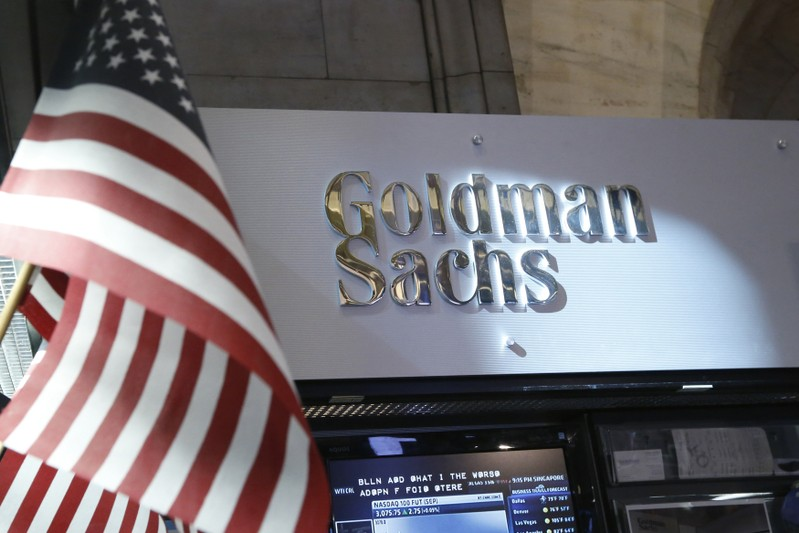 FILE PHOTO: A view of the Goldman Sachs stall on the floor of the New York Stock Exchange