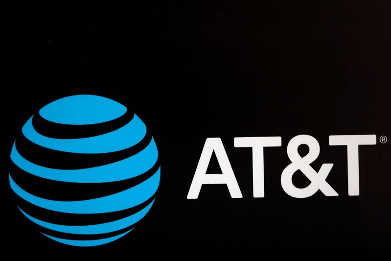 FILE PHOTO: The AT&T logo is pictured during the Forbes Forum 2017 in Mexico City