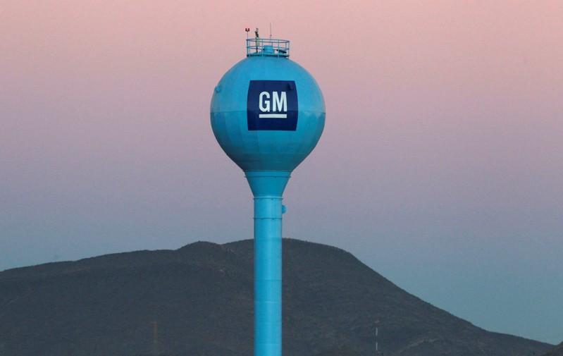 FILE PHOTO: The GM logo is seen at the General Motors Assembly Plant in Ramos Arispe