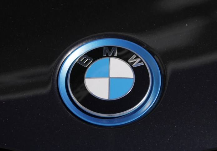The BMW logo is seen on a car in Nice