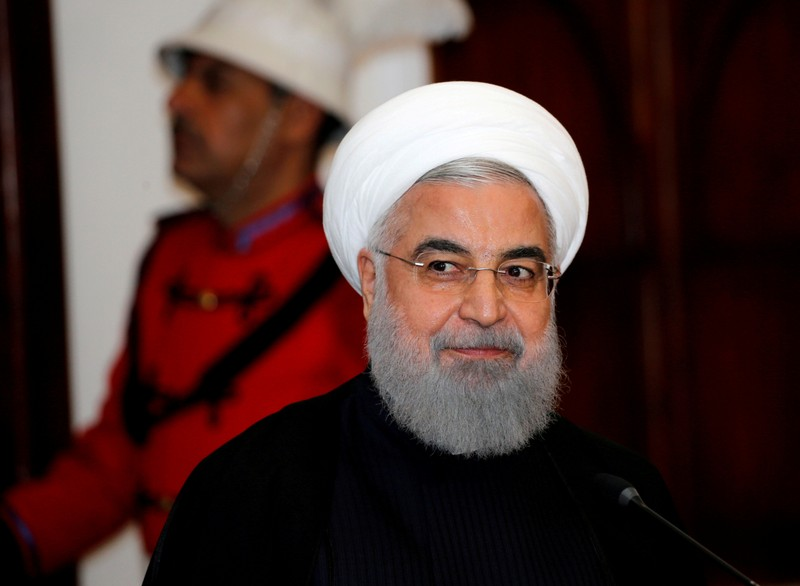 FILE PHOTO: Iranian President Hassan Rouhani speaks during a news conference on a visit to Baghdad