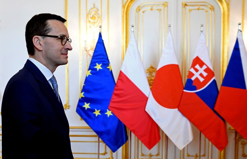 FILE PHOTO: Polish PrimeMinister Mateusz Morawiecki arrives at a summit of the Visegrad Group of central European nations and Japan in Bratislava