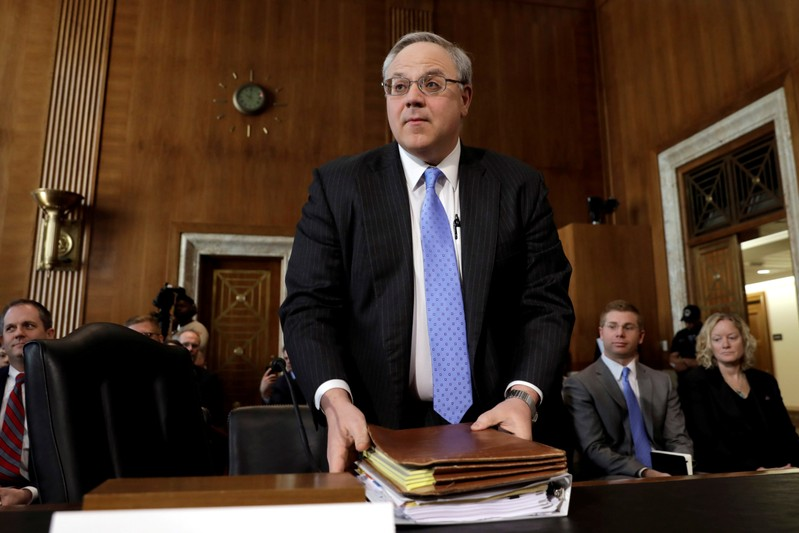 FILE PHOTO: Former energy lobbyist David Bernhardt testifies before a Senate Energy and Natural Resources Committee