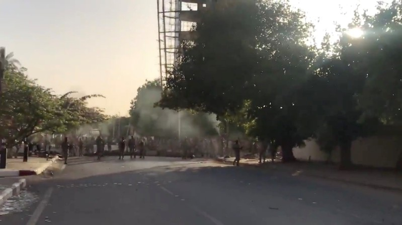 Shots are fired by Sudanese forces during a protest in Khartoum