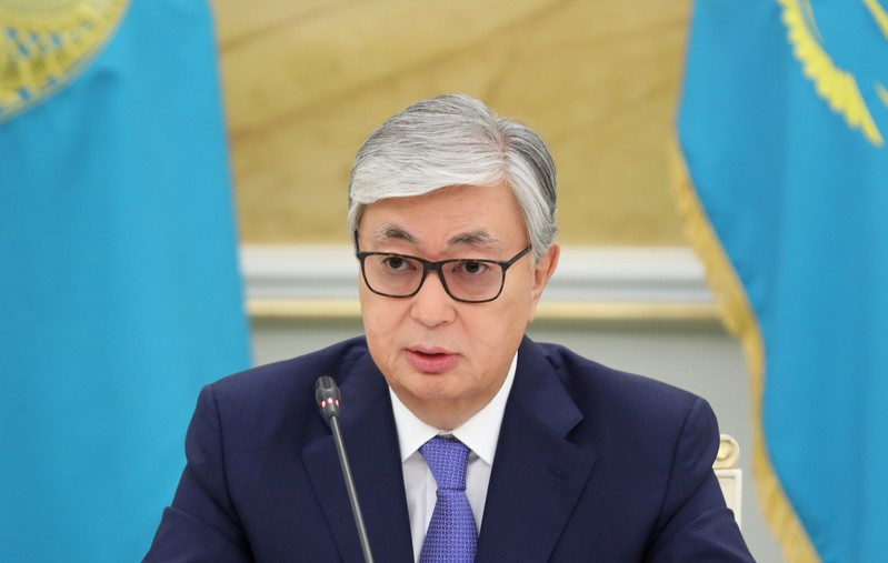 FILE PHOTO: Kazakhstan's President Kassym-Jomart Tokayev attends a news conference in Nur-Sultan