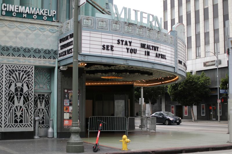 A theater displays a closed sign during the global outbreak of coronavirus (COVID-19) in Los Angeles