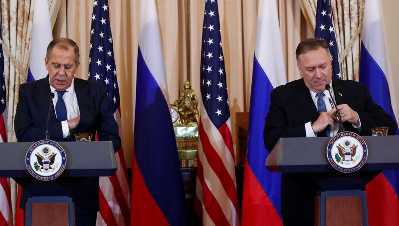 U.S. Secretary of State Pompeo holds news conference with Russias Foreign Minister Lavrov at State Department in Washington