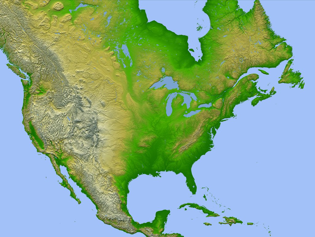 """The project was launched in late 2009, and the term """"us topo"""" refers specifically to quadrangle topographic maps published in 2009 and later. Shaded Relief With Height As Color North America"""