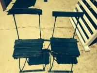 Wood And Wrought Iron Foldable Chairs | Loveseat Vintage ...