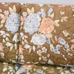 Long Sofa Arm Covers Pink Leather Corner Uk Retro In Brown Floral Print | Loveseat Vintage ...
